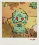 bulbasaur from_above gen_1_pokemon highres outdoors poke_toy pokemon pokemon_(creature) pov red_eyes stuffed_toy teletelo