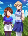 aile aile_(rockman) arms_behind_back arms_folded blonde_hair blue_jacket blue_skirt blush brown_hair closed_eyes deviantart duel_academy_uniform_(yuu-gi-ou_gx) forest hair_between_eyes happy laughing long_hair rockman rockman_x_dive rockman_zx sailor_collar shiny_hair shirt short_hair sincity2100 skirt sleeveless_jacket sleeveless_shirt smile sunlight tenjouin_asuka white_jacket white_pantyhose yellow_eyes yu-gi-oh! yu-gi-oh!_gx yuu-gi-ou yuu-gi-ou_gx