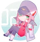 1girl black_legwear boots buttons character_name chibi cloak copyright_name darling_in_the_franxx double-breasted dress green_eyes halftone halftone_background hat jacket jacket_on_shoulders long_hair looking_at_viewer necktie pantyhose pink_hair red_dress sitting slyvia solo uniform white_cloak white_footwear white_headwear zero_two_(darling_in_the_franxx)