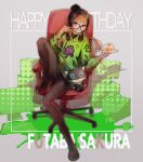 1girl alien arms_up bangs beanie black_footwear black_headwear black_legwear black_skirt black_sweater boots box buckle cake cake_slice chair character_name cup food fork gaming_chair glasses green_hoodie grey_background happy_birthday hat headphones headphones_around_neck highres holding holding_fork holding_plate hood hoodie leg_up long_hair long_sleeves midcalf_boots miniskirt monitor number orange_hair pantyhose persona persona_5 persona_5_the_royal pixel_art plate sabakawa sakura_futaba shadow simple_background sitting skirt solo_focus spill stuffed_animal stuffed_cat stuffed_toy sweater turtleneck turtleneck_sweater violet_eyes