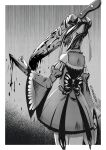 1girl absurdres arm_blade bug chainsaw_man demon_girl detached_sleeves gothic greyscale highres hololive insect izanagi_no_ookami_p. knife long_sleeves monochrome monster_girl monsterification sharp_teeth teeth themed_object transformation twitter_username uruha_rushia weapon