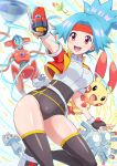 1girl :d absurdres bellsprout belt blue_hair blurry blush breasts brown_legwear capture_styler commentary_request covered_navel cropped_jacket deoxys deoxys_(normal) electricity eyelashes fingerless_gloves gen_1_pokemon gen_3_pokemon gloves headband highres jacket long_hair machop magneton mythical_pokemon open_clothes open_jacket open_mouth orange_headband plusle pokemoa pokemon pokemon_(creature) pokemon_ranger pokemon_ranger_1 shiny shiny_skin shoes short_sleeves smile solana_(pokemon) teeth thigh-highs tongue white_background