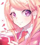 1girl akamatsu_kaede bangs blonde_hair blush box close-up collared_shirt commentary_request danganronpa_(series) danganronpa_v3:_killing_harmony dated eighth_note face gift gift_box hair_ornament happy_birthday highres holding holding_box long_hair looking_at_viewer musical_note musical_note_hair_ornament pink_vest remi_(remi_0702) shirt simple_background smile solo vest violet_eyes white_background white_shirt