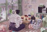 1boy 2girls animal bangs black_hair blonde_hair blue_shirt blunt_bangs bob_cut bowl cat child child_drawing closed_eyes cushion facing_away getou_suguru hair_bun hakama highres holding holding_spoon indoors japanese_clothes jujutsu_kaisen kimono long_sleeves mimiko_(jujutsu_kaisen) multiple_girls nanako_(jujutsu_kaisen) penguin_miko plate pointing rice_cooker round_eyewear seiza shirt short_hair shorts sitting sliding_doors soy_sauce spoon stuffed_animal stuffed_toy sunglasses sunny_side_up_egg table teddy_bear teruterubouzu white_kimono white_shorts