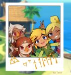 2boys 2girls ;d alternate_skin_color artist_name aryll bangs beak blonde_hair blue_eyes blurry blurry_background brown_hair bunny_ears_prank circlet english_commentary eyebrows_visible_through_hair green_headwear green_tunic grey_hair grin group_picture hat kai_texel komali link multiple_boys multiple_girls one_eye_closed open_mouth parted_bangs pointy_ears polaroid red_eyes runes short_hair smile tan tetra the_legend_of_zelda the_legend_of_zelda:_the_wind_waker thick_eyebrows toon_link translation_request