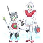 2girls alternate_costume apron ball_(gundam) breasts closed_mouth dress enmaided gm_(mobile_suit) gundam looking_at_viewer maid maid_apron mecha_musume multiple_girls open_mouth short_hair skirt smile thigh-highs ueyama_michirou