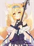 1girl animal_ear_fluff animal_ears arknights bangs bare_shoulders black_gloves blonde_hair blue_hairband blush braid closed_mouth commentary_request eyebrows_behind_hair fox_ears fox_girl fox_tail gloves green_eyes grey_background hair_rings hairband han_(hn_smr) hands_up highres holding kitsune multicolored_hair purple_skirt shirt single_glove skirt smile solo suzuran_(arknights) tail twin_braids two-tone_hair white_hair white_shirt