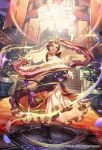 black_eyes black_hair dancing dress earrings floor headwear japanese_clothes jewelry kimono lantern looking_at_viewer miko official_art open_mouth palace pillar plant potted_plant reaching_out romancing_saga_re;universe smile stairs standing tef