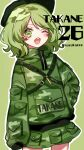 1girl bangs black_headwear camouflage camouflage_hoodie camouflage_print camouflage_skirt character_name clothes_writing cowboy_shot eyebrows_visible_through_hair green_background green_eyes green_hair green_skirt hand_on_hip heart highres key kyouda_suzuka long_sleeves looking_at_viewer one_eye_closed open_mouth pocket short_hair simple_background skirt sleeves_past_fingers sleeves_past_wrists solo standing symbol-shaped_pupils teeth touhou twitter_username v-shaped_eyebrows yamashiro_takane