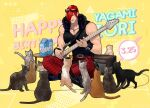 1boy animal bass_guitar cat choker dated eyewear_on_head hair_over_one_eye happy_birthday indian_style instrument jacket jewelry looking_at_viewer male_focus muscular muscular_male necklace pants red_eyes short_hair sitting sleeveless snk solo sunglasses the_king_of_fighters the_king_of_fighters_'95 yagami_iori yaka_(kk1177)