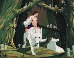 1girl animal arm_strap bare_arms blood blood_on_face buildahamster circlet earrings forest jewelry kodama mononoke_hime moro_(mononoke_hime) nature plant riding san short_hair sitting tooth_necklace wolf