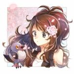 1girl bangs bare_arms bird black_vest border brown_hair closed_mouth commentary eyelashes floating_hair flower gen_5_pokemon grey_eyes hair_flower hair_ornament hilda_(pokemon) long_hair outside_border petals pidove pokemon pokemon_(creature) pokemon_(game) pokemon_bw shirt sidelocks sleeveless vest white_border white_shirt yomogi_(black-elf)
