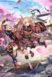1girl animal bat bat_wings cherry_blossoms clogs flag japanese_clothes kimono kite lantern long_hair looking_at_viewer new_year open_mouth pink_hair ponytail racket red_eyes romancing_saga_re;universe shrine solo teeth tef temple thigh-highs twintails vampire white_legwear wings
