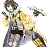 1girl arknights black_shorts brown_hair coat feet_out_of_frame glasses gloves green_gloves headphones headphones_around_neck highres holding long_sleeves mugioec open_mouth quadcopter see-through_legwear short_hair shorts silence_(arknights) simple_background solo white_background yellow_coat yellow_eyes