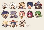 3boys 6+girls :< ahoge animal_ears baizhu_(genshin_impact) bangs bangs_pinned_back bird black_eyes blonde_hair blue_flower blue_hair blue_headwear blue_rose bow bowtie braid cat_ears closed_eyes closed_mouth cropped_torso dainsleif_(genshin_impact) dated diona_(genshin_impact) double_bun eyebrows_visible_through_hair eyepatch fischl_(genshin_impact) flower genshin_impact glasses green_hair grey_hair habit hair_flower hair_ornament hair_over_one_eye hair_ribbon hair_rings halo hat ichimegasa keqing_(genshin_impact) lisa_(genshin_impact) long_hair mask melanbread mona_(genshin_impact) multiple_boys multiple_girls open_mouth oz_(genshin_impact) paimon_(genshin_impact) pink_hair purple_hair redhead ribbon rosaria_(genshin_impact) rose scaramouche scarf short_hair sidelocks signature signora simple_background single_braid smile snake twintails two_side_up unknown_god_(genshin_impact) white_hair witch_hat xiangling_(genshin_impact) yellow_background