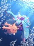 absurdres air_bubble blue_eyes blush bubble closed_eyes commentary_request corsola gen_2_pokemon gen_7_pokemon highres light_beam looking_at_another mareanie no_humans nullma open_mouth pokemon pokemon_(creature) sharp_teeth signature smile teeth tongue underwater water_surface