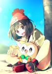 1girl bangs beanie blurry commentary_request day eyelashes food food_on_face gen_7_pokemon grey_eyes hat highres holding open_mouth outdoors pokemon pokemon_(creature) pokemon_(game) pokemon_sm red_headwear rindoriko rowlet selene_(pokemon) shirt shoes sitting sky smile spread_legs starter_pokemon t-shirt teeth tongue tree
