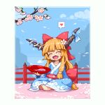 1girl alternate_costume back_bow bangs blue_kimono blue_ribbon blunt_bangs blush border bow branch cherry_blossoms closed_eyes clouds commentary_request cup day fang flower full_body grey_border hair_bow hair_flower hair_ornament heart holding holding_cup horn_ornament horn_ribbon horns ibuki_suika indian_style japanese_clothes kimono kumamoto_(bbtonhk2) long_hair long_sleeves lowres mountainous_horizon oni_horns open_mouth orange_hair outdoors petals pixel_art railing red_bow ribbon sakazuki sitting smile solo spoken_heart touhou
