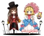 3girls alice_margatroid ascot bangs black_dress black_footwear black_headwear black_pants blonde_hair blue_dress blue_eyes blush boots bow brooch brown_hair brown_jacket cane capelet closed_mouth collared_shirt commentary_request dress eyebrows_visible_through_hair frilled_capelet frills hair_between_eyes hair_bow hakurei_reimu hat holding holding_hands holding_umbrella jacket jewelry juliet_sleeves knee_boots lamppost long_hair long_sleeves multiple_girls pants pink_bow pink_umbrella piyokichi puffy_sleeves red_bow red_eyes red_footwear red_vest shanghai_doll shirt shoes smile top_hat touhou umbrella very_long_hair vest white_background white_capelet white_neckwear white_shirt wide_sleeves