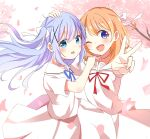 2girls ;d bangs blue_eyes blue_hair blue_ribbon bow brown_hair commentary_request dress eyebrows_visible_through_hair floating_hair flower gochuumon_wa_usagi_desu_ka? hair_between_eyes hair_bow hair_ornament highres hoto_cocoa kafuu_chino kousaka_nobaku long_hair matching_outfit multiple_girls neck_ribbon one_eye_closed open_mouth outstretched_arms petals pink_flower red_ribbon ribbon sailor_collar sailor_dress smile tree_branch two_side_up v very_long_hair violet_eyes white_bow white_dress white_sailor_collar x_hair_ornament