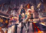 2boys animal_ears arknights black_coat city coat doctor_(arknights) dog_ears face-to-face factory greyy_(arknights) hat holding holding_wand holding_weapon lantern mask multiple_boys pants scorpion5050 shirt short_hair sitting stairs sweater wand weapon white_headwear white_shirt