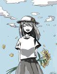 1girl closed_eyes clouds cloudy_sky flower grey_skirt hair_flower hair_ornament hat medium_hair original shirt skirt sky smile sunflower sunflower_hair_ornament white_shirt