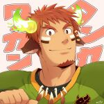 1boy american_football_uniform animal_ears brown_eyes brown_hair cow_boy cow_ears cow_horns dark_skin dark_skinned_male face facial_hair feather_necklace fiery_horns forked_eyebrows glowing_horns goatee green_shirt head_tilt highres horns male_focus pointing pointing_at_self portrait shirt short_hair sideburns smile solo spiky_hair sportswear thick_eyebrows tokyo_houkago_summoners translation_request upper_body wakan_tanka zifuuuun