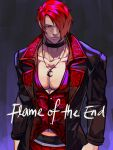1boy arms_at_sides black_choker choker collarbone hair_over_one_eye highres jacket jewelry looking_at_viewer male_cleavage male_focus necklace pants pectorals red_eyes redhead shirt short_hair simple_background solo standing syachiiro the_king_of_fighters the_king_of_fighters_'95 the_king_of_fighters_xv yagami_iori
