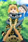 2girls animal_ears animal_print bangs black_hair blonde_hair bow bowtie carrying cat_girl colored_inner_hair day elbow_gloves extra_ears eyebrows_visible_through_hair from_below fur_collar fuzimiinuyamada gloves grabbing grey_hair highres hug hug_from_behind jaguar_(kemono_friends) jaguar_ears jaguar_girl jaguar_print jaguar_tail kemono_friends leaning_to_the_side looking_at_another medium_hair multicolored_hair multiple_girls open_mouth orange_eyes otter_ears otter_girl otter_tail outdoors outstretched_arms pantyhose piggyback potato print_gloves print_legwear print_skirt pulling shiny shiny_hair shirt short_sleeves silver_hair skirt small-clawed_otter_(kemono_friends) smile standing tail two-tone_hair upper_teeth wrist_grab