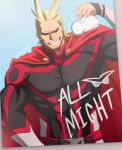 1boy all_might alternate_costume animal_on_shoulder antenna_hair belt black_bodysuit blonde_hair bodysuit boku_no_hero_academia cape character_name covered_abs grin hair_slicked_back highres large_pectorals male_focus muscular muscular_male rabbit red_cape short_hair smile solo trevo_(trevoshere) upper_body