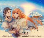 1boy 1girl brown_hair couple elhaym_van_houten fei_fong_wong long_hair nknk106 orange_hair ponytail sunrise v violet_eyes xenogears yellow_eyes