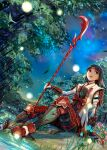 1girl armor black_hair final_fantasy final_fantasy_xi flower headband highres iroha_(ff11) japanese_armor looking_up mikazuki_akira! naginata night open_mouth plant polearm red_headband sitting stream water weapon