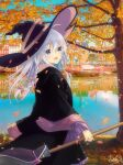 braiding_hair broom elaina_(majo_no_tabitabi) hairdressing hat lake long_hair majo_no_tabitabi tree violet_eyes white_hair witch witch_hat