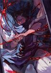 1boy baggy_pants bangs black_hair blood blood_on_face choso_(jujutsu_kaisen) closed_mouth dutch_angle feet_out_of_frame glowing glowing_eyes glowing_tattoo half-closed_eyes hands_together highres incoming_attack japanese_clothes jujutsu_kaisen kimono looking_at_viewer male_focus pants red_eyes rumie sash scarf serious solo standing swept_bangs tattoo twintails white_kimono wide_sleeves