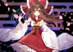 1girl alternate_costume black_background blush bow brown_eyes brown_hair cherry_blossoms commentary_request detached_sleeves egasumi hair_bow hair_tubes hakurei_reimu hand_up highres kyouda_suzuka long_hair long_sleeves looking_at_viewer petals red_bow red_nails red_skirt sailor_collar shirt skirt smile solo touhou white_shirt wide_sleeves