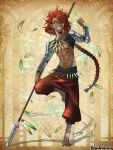 1boy abs aino_yumeri armor barefoot black_sclera braid brown_background colored_sclera copyright_name dark_skin dark_skinned_male earrings feathers full_body glint hair_between_eyes heterochromia holding holding_feather holding_spear holding_weapon jewelry long_hair male_focus necklace official_art pandora_party_project pants polearm red_eyes redhead sharp_teeth smile spear standing standing_on_one_leg tattoo teeth toned toned_male very_long_hair weapon yellow_eyes