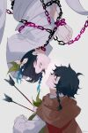 absurdres arrow_(projectile) arrow_in_body bangs black_hair blood bloody_weapon blue_hair braid brown_cloak chain chained chained_wrists cloak closed_eyes closed_mouth eyebrows_visible_through_hair feathers flower frilled_sleeves frills genshin_impact gradient_hair hair_flower hair_ornament highres hood hood_up hooded_cloak leaf long_sleeves male_focus multicolored_hair nameless_bard_(genshin_impact) simple_background twin_braids upside-down venti_(genshin_impact) vision_(genshin_impact) weapon white_background white_cloak white_flower ylceon