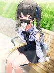 1girl bangs bench black_hair black_neckwear black_skirt blue_eyes blue_ribbon bow bowtie bush commentary_request day drill_hair eyebrows_visible_through_hair hair_ribbon heart heart_in_eye high-waist_skirt highres holding holding_phone koyubita long_hair long_sleeves looking_at_viewer mask mouth_mask nijisanji on_bench outdoors phone ribbon shirt signature sitting sitting_on_bench skirt solo symbol_in_eye tsukino_mito twin_drills twintails white_shirt