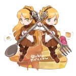 1boy 1girl blonde_hair blue_eyes brown_capelet brown_headband brown_ribbon brown_skirt closed_mouth eyebrows_visible_through_hair food fork green_eyes hair_ribbon headband holding holding_fork holding_spoon lobotomy_corporation long_hair matching_outfit nonga open_mouth pancake pantyhose pleated_skirt ribbon skirt smile spoon tiphereth_a_(lobotomy_corporation) tiphereth_b_(lobotomy_corporation) utensil white_background