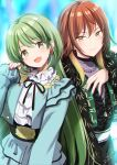 2girls :d aketa_mikoto azuma_yuki black_jacket black_skirt blue_jacket blue_skirt brown_eyes brown_hair closed_mouth earrings gradient_hair green_eyes green_hair green_nails hand_up head_tilt highres idolmaster idolmaster_shiny_colors jacket jewelry layered_skirt long_hair long_sleeves looking_at_viewer multicolored multicolored_hair multicolored_nails multiple_girls nail_polish nanakusa_nichika open_clothes open_jacket open_mouth purple_nails red_nails shirt skirt sleeves_past_wrists smile very_long_hair white_shirt