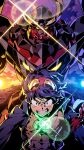 1boy babamba bandages black_jacket blue_eyes blue_hair clenched_teeth drill glowing glowing_eyes goggles goggles_on_head gurren-lagann highres jacket jewelry looking_down male_focus mecha necklace science_fiction shiny shirtless simon_(ttgl) super_robot teeth tengen_toppa_gurren_lagann v-shaped_eyebrows yellow_eyes