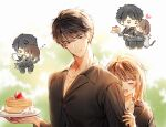 1boy 1girl :o black_eyes black_hair black_shirt blurry blurry_background blush brown_hair cat chibi closed_eyes facing_another food fruit hetero iji_(u_mayday) jewelry li_zeyan looking_at_viewer love_and_producer necklace on_lap outdoors pancake paper plate protagonist_(love_and_producer) shirt sleeping strawberry upper_body whipped_cream zzz