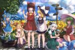 6+girls apron ascot blonde_hair blue_dress blue_hair bow braid brown_hair cirno closed_eyes clouds cloudy_sky collared_shirt denpajin-ryuushi detached_sleeves dress fan field flower flower_field food frilled_bow frills green_hair green_skirt green_vest hair_bow hair_flower hair_ornament hair_tubes hairband hakurei_reimu hat hat_bow highres holding horn_bow horn_ornament horn_ribbon horns ibuki_suika ice ice_wings japanese_clothes kazami_yuuka kirisame_marisa konpaku_youmu looking_at_viewer lying lying_on_lap mary_janes mountainous_horizon multiple_girls on_stomach oni parasol pink_hair popsicle puffy_short_sleeves puffy_sleeves red_bow red_eyes red_vest ribbon saigyouji_yuyuko sash shirt shoes short_hair short_sleeves side_braid silver_hair single_braid sitting skirt skirt_set sky smile standing sundress sunflower touhou umbrella vest waist_apron wide_sleeves wings witch_hat yellow_eyes