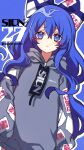 1girl blue_background blue_bow blue_eyes blue_hair bow character_name closed_mouth clothes_writing eyebrows_visible_through_hair flaming_eye frown grey_hoodie hair_between_eyes hair_bow heart highres hood hoodie kyouda_suzuka long_hair long_sleeves looking_at_viewer ofuda_on_clothes simple_background sleeves_past_fingers sleeves_past_wrists solo standing touhou twitter_username typo yorigami_shion
