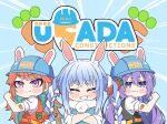 3girls animal_ear_fluff animal_ears arm_tattoo bangs blue_hair blush braid carrot carrot_hair_ornament chibi closed_eyes don-chan_(usada_pekora) eyebrows_visible_through_hair flexing food_themed_hair_ornament hair_ornament hardhat helmet hololive hololive_english hololive_indonesia kukie-nyan moona_hoshinova multicolored_hair multiple_girls pose rabbit_ears short_eyebrows smile takanashi_kiara tattoo twin_braids two-tone_hair uniform usada_kensetsu usada_pekora v-shaped_eyebrows virtual_youtuber white_hair
