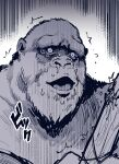 absurdres gorilla greyscale highres karasu_raven king_kong king_kong_(character) monochrome no_humans open_mouth scared snot sound_effects sweat sweating_profusely translation_request trembling