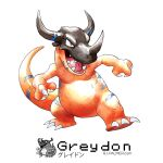 artist_name arvalis character_name digimon dragon english_commentary greymon highres horns looking_ahead no_humans open_hands orange_eyes parody pokemon pokemon_(game) pokemon_rgby sharp_teeth single_horn style_parody teeth watermark web_address white_background