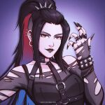 1girl alternate_hairstyle alternate_universe avatar:_the_last_airbender avatar_(series) azula black_lips black_nails blue_hair breasts brown_eyes bustier caro_oliveira colored_inner_hair ear_piercing english_commentary eyebrow_piercing facial_mark fingernails gothic jewelry lipstick long_fingernails long_hair makeup multicolored_hair multiple_piercings nose o-ring off-shoulder_sweater off_shoulder pale_skin piercing plug_(piercing) ponytail ring sharp_fingernails small_breasts solo studded_bracelet sweater thumb_ring torn_clothes