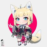 1girl ahoge animal_ear_fluff animal_ears bangs bare_shoulders black_footwear blonde_hair blue_eyes blush chibi closed_mouth commentary_request eyebrows_visible_through_hair fox_ears fox_girl fox_tail grey_background grey_skirt hand_on_hip highres kuro-chan_(kuro_kosyou) kuro_kosyou long_sleeves original outstretched_arm pleated_skirt red_background short_eyebrows skirt smile solo tabi tail thick_eyebrows two-tone_background v white_legwear wide_sleeves zouri