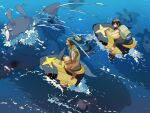 2boys black_hair capri_pants dark_skin dark_skinned_male elio_(pokemon) from_above gen_2_pokemon gen_3_pokemon gen_4_pokemon green_hair green_vest hau_(pokemon) highres male_focus mantine mantyke marutahakai multiple_boys open_clothes open_vest orange_footwear orange_shorts pants pokemon pokemon_(creature) pokemon_(game) pokemon_sm riding_pokemon sharpedo shoes short_ponytail shorts sitting splashing vest water